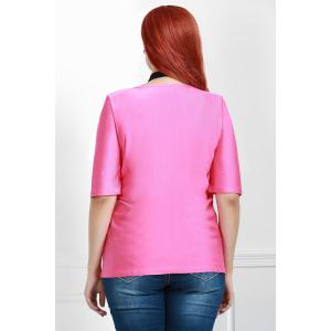 Casual Round Collar Half Sleeve Belted Plus Size Blouse For Women - ROSE L