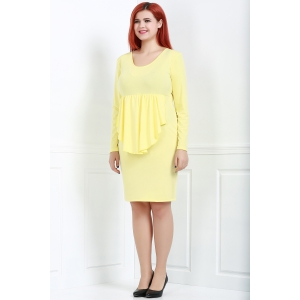 Sexy Plunging Neck Long Sleeve Pure Color Plus Size Women's Dress -