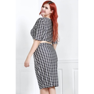 Plus Size Plaid Crop Two Piece Fitted Dress -