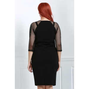 Plus Size Mesh Insert Sheath Fitted Dress -