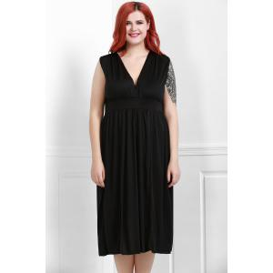 Sexy Plunging Neck Sleeveless Solid Color High Slit Plus Size Women's Dress - BLACK XL