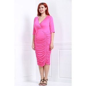 V-Neck Half Sleeve Ruched Bodycon Midi Dress - ROSE 3XL