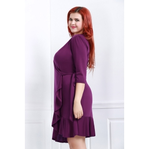 Casual V-Neck 3/4 Sleeve Solid Color Ruffles Spliced Midi Dress For Women -