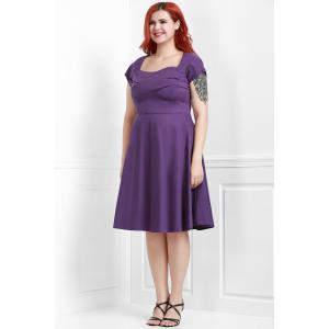 Vintage Sweetheart Neck Plus Size Bridesmaid  Dress - PURPLE 2XL
