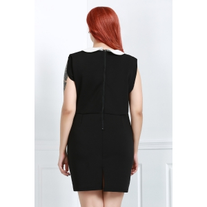 OL Style Plunging Neck Sleeveless Hit Color Bodycon Women's Dress - BLACK 2XL