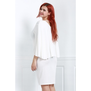 Plus Size V-Neck Modest Work Bodycon Caped Dress - WHITE L