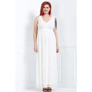 Élégant sans manches à encolure en V dentelle Plus Size Dress For Women - Blanc 4XL