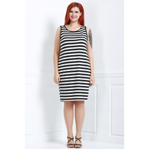 Trendy Scoop Neck Sleeveless Striped Bodycon Dress For Women -