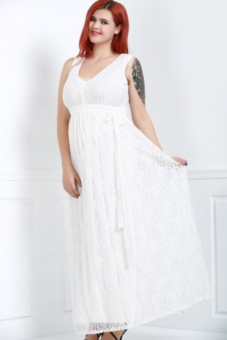 Élégant sans manches à encolure en V dentelle Plus Size Dress For Women Blanc 2XL