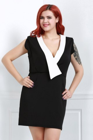 OL Style Plunging Neck Sleeveless Hit Color Bodycon Women's Dress - Black - 3xl