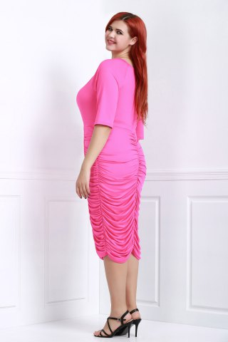 Hot V-Neck Ruched Bodycon Drape Midi Dress - ROSE 3XL Mobile