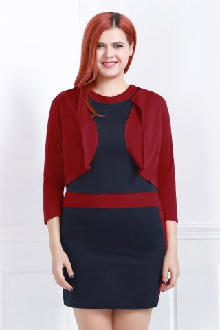 Buy Chic Jewel Neck Color Block Bodycon Dress Jacket Twinset Women