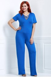 Sexy Hollow Out Lace-Up V-Neck Solid Color Wide-Leg Jumpsuit For Women
