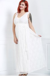 Sleeveless V-Neck Lace Plus Size Formal Princess Maxi Dress