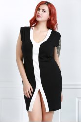 Plunging Neck Color Block Plus Size Fitted Dress
