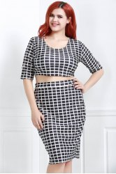 Plus Size Plaid Crop Two Piece Club Dress