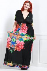 Flower Print Maxi Dress with Sleeves -