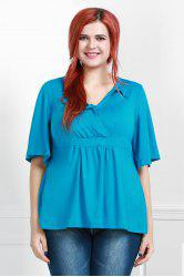Stylish Plus Size Flare Sleeve Solid Color V-Neck Blouse For Women