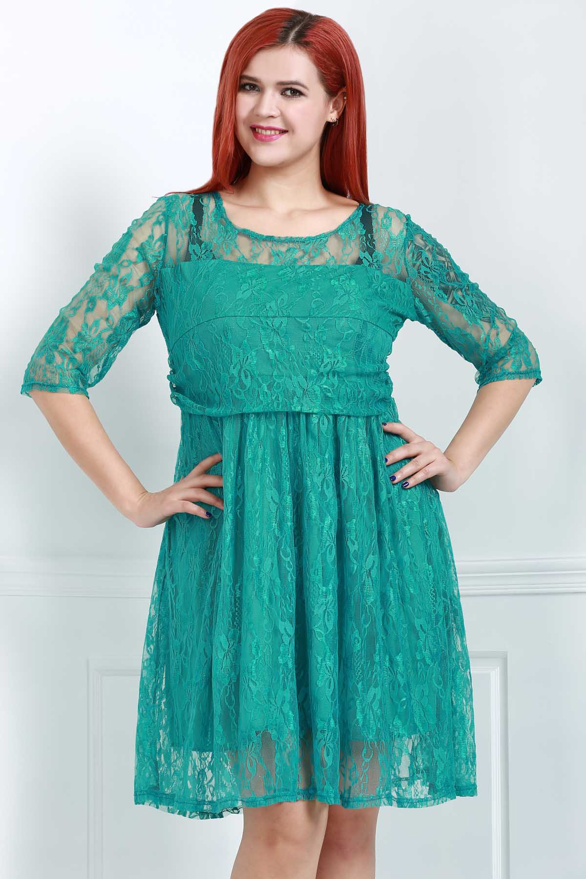 Outfits Graceful Round Collar Half Sleeve Green Lace Women's Dress