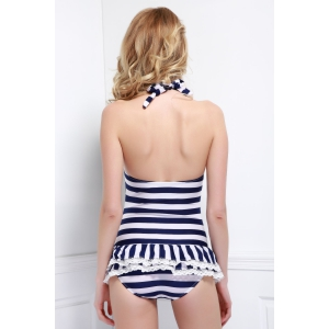 Halter Striped Skirted One Piece Swimwear - BLUE XL