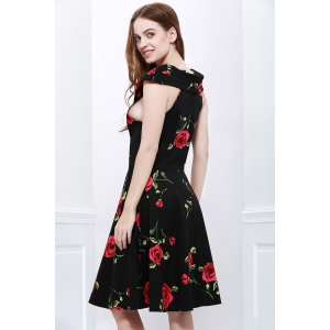 Retro Style V-Neck Rose Print Short Sleeve Ball Dress - RED XL