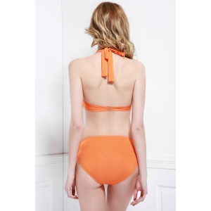 Alluring Halter Hollow Out Solid Color Women's Three-Piece Swimsuit - ORANGE M