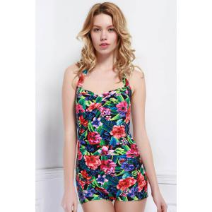 Halter Backless Floral One Piece Swimsuit
