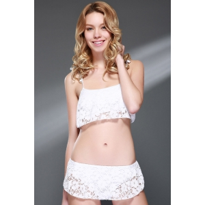 Sexy Spaghetti Strap Lace Bikini Set For Women - WHITE M