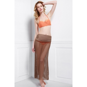 Mesh Hollow Out Swim Skirt Cover Ups - Light Coffee - One Size(fit Size Xs To M)