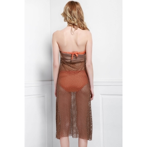 Mesh Hollow Out Swim Skirt Cover Ups - LIGHT COFFEE ONE SIZE(FIT SIZE XS TO M)
