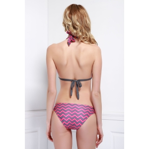 Sexy Halter Lace-Up Wave Print Women's Bikini Set - ROSE S