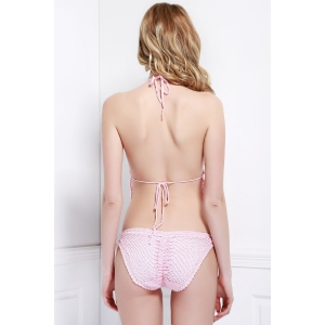 Sexy Halter Solid Color Crochet Two-Piece Women's Swimsuit - PINK S