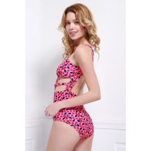 Sexy Hollow Out Backless Printed One-Piece Swimwear For Women - ROSE S