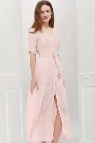 Outfits V Neck Printed Floor Length Maxi Dress PINK M