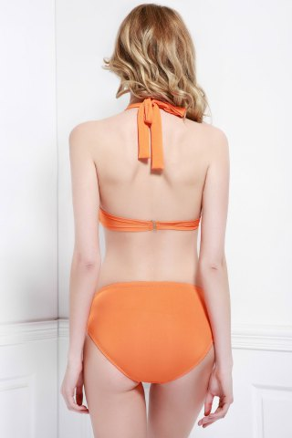Cheap Alluring Halter Hollow Out Solid Color Women's Three-Piece Swimsuit - M ORANGE Mobile
