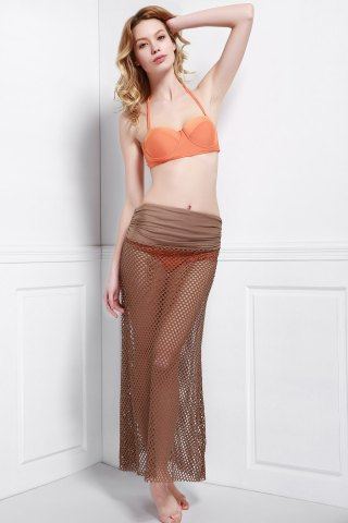 Shops Mesh Hollow Out Swim Skirt Cover Ups LIGHT COFFEE ONE SIZE(FIT SIZE XS TO M)