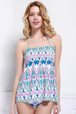 Outfit Refreshing Halter Printed Stretchy One-Piece Swimwear For Women COLORMIX L