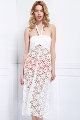 Trendy Sexy Halter Sleeveless See-Through Hollow Out Women's Cover-Up