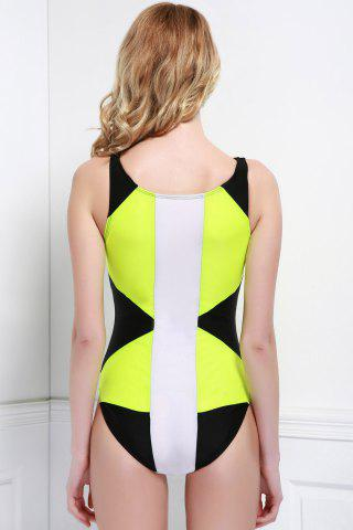 Shop High Neck Color Block One Piece Swimwear - M BLACK AND GREEN Mobile