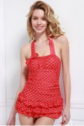 Halter Polka Dot Backless Skirted Ruffle Swimsuit - RED
