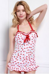Halter Lips Print Tankini with Ruffles - RED M