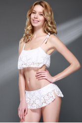 Sexy Spaghetti Strap Lace Bikini Set For Women - WHITE