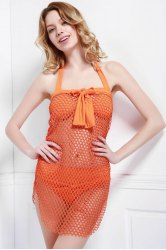 Alluring Halter Hollow Out Solid Color Women's Three-Piece Swimsuit