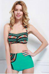 High Waisted Printed Bandeau Bikini Set