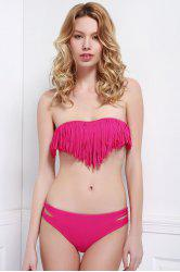 Fashionable Strapless Tassel Bikini Set For Women