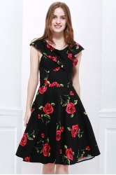 Retro Style V-Neck Rose Print Short Sleeve Ball Dress For Women - RED