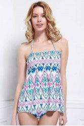 Refreshing Halter Printed Stretchy One-Piece Swimwear For Women - COLORMIX L