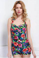 Chic Floral Printed Halter One-Piece Boxers Swimwear For Women - COLORMIX L