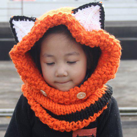 Fashion Cute Kids' Fox Ear Shape and Buttons Embellished Knitted Hooded Scarf