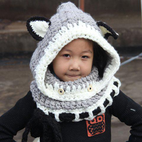 Fashion Chic Fox Ear Shape and Lace-Up Embellished Knitted Beanie For Kids